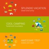 Podróżuje urlopowej turystyki sieci sztandarów szablonu wakacyjnego płaskiego set ilustracji