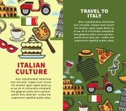 Podróżuje Włochy pionowo handlowe broszurki z próbka teksta setem Obraz Royalty Free