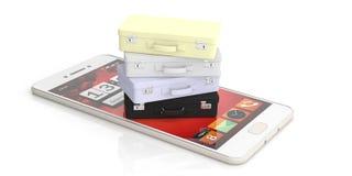 Podróżuje walizki na smartphone - online podróży rezerwaci pojęcie ilustracja 3 d ilustracja wektor