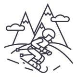 Podróżuje zimę, narciarki narciarstwo w wysoka góra wektoru linii ikonie, znak, ilustracja na tle, editable uderzenia royalty ilustracja