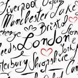 Podróży Anglia miejsca przeznaczenia bezszwowy deseniowy tło Obrazy Stock