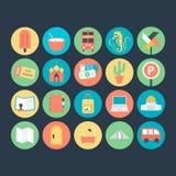 Podróży Barwione Wektorowe ikony 5 Fotografia Stock