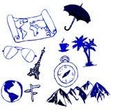 Podróży Doodles ręka rysujący projekt na białym tle royalty ilustracja