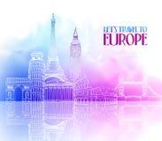Podróży Europa ręki rysunek z Sławnymi punktami zwrotnymi Obraz Stock