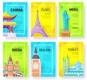 Podróży ewidencyjne karty Krajobrazowy szablon flyear, magazyny, plakaty, książkowa pokrywa, sztandary Układu miasta strony Zdjęcia Royalty Free