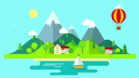 Podróży gór wyspy krajobraz i żeglowanie animujący wstępu mieszkanie projektujemy ilustracja wektor