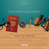 Podróży i przygody szablon, odkrywa twój sen ilustracja wektor