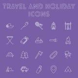 Podróży i wakacje ikony set Obrazy Stock