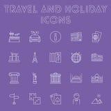 Podróży i wakacje ikony set Zdjęcie Stock