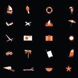 Podróży ikona w pomarańczowym i białym wektorze Fotografia Stock