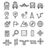 Podróży ikony w płaskiej bryły linii projekcie Mapy transpor i markiery royalty ilustracja