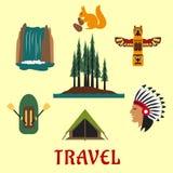 Podróży Kanadyjskie i Amerykańskie ikony ilustracja wektor