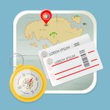 Podróży mapy biletów ikony cyrklowy wektor Obraz Royalty Free