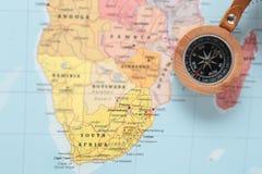Podróży miejsce przeznaczenia Południowa Afryka, mapa z kompasem Obrazy Stock