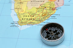 Podróży miejsce przeznaczenia Południowa Afryka, mapa z kompasem Zdjęcia Stock