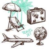 Podróży nakreślenia ikony Dekoracyjny set ilustracji