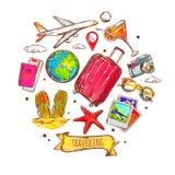 Podróży nakreślenia Round skład ilustracji