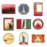Podróży odznaki etykietki lub ilustracja wektor