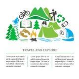 Podróży pojęcie - turystyczne ikony i eco symbole odizolowywający na białym tle ilustracja wektor