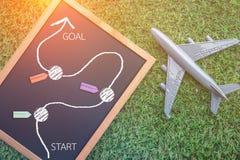 Podróży pojęcie z chalkboard i samolotu modelem Fotografia Royalty Free