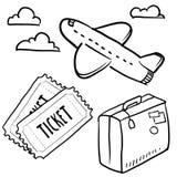 Podróży powietrznej przedmiotów nakreślenie Obraz Stock