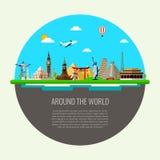Podróży tło z sławnymi światowymi punkt zwrotny ikonami wektor ilustracji