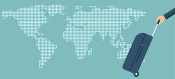 Podróży torba w ręce na mapy tle Przewożenie walizka Skrzynka chwyt w ręce Wektorowy ilustracyjny płaski projekt Fotografia Stock