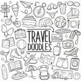 Podróży turystyki Doodle Tradycyjne ikony Kreślą Ręcznie Robiony projekta wektor Obraz Royalty Free