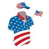 Podróży ubrania ustawiający: koszulka, baseball nakrętka i skróty w usa flaga, barwimy Wektorowa rysunkowa ilustracja royalty ilustracja