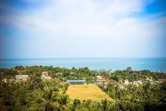 Podróży urlopowy tło Tropikalna wyspa z Zdjęcia Stock