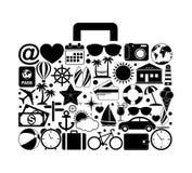Podróży walizka z podróży ikonami Obrazy Royalty Free