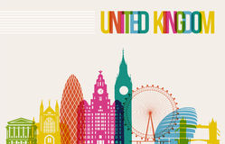 Podróży Zjednoczone Królestwo miejsca przeznaczenia punktów zwrotnych linii horyzontu tło ilustracja wektor