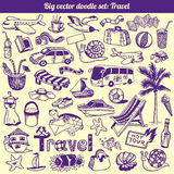 Podróż Doodles Inkasowego wektor Ilustracji