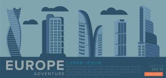 Podróż Europa nowoczesna architektura ilustracja wektor