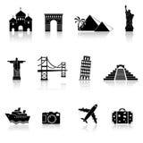 Podróż i punkt zwrotny ikony Zdjęcia Royalty Free