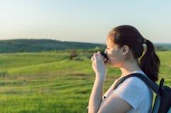 Podróż lunchu herbaciany kawowy turystyczny backpacker Zdjęcia Royalty Free