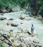 Podróżnik pozycja na brzeg rzeki Fotografia Royalty Free