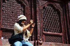 Podróżnik w Durbar kwadracie przy Kathmandu Nepal Zdjęcia Royalty Free