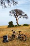 Podróżnika bicykl i plecak Zdjęcie Royalty Free