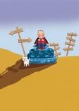 Podróżnika obsiadanie na walizce ilustracji