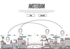Podróż powietrzna Amsterdam plakat w liniowym stylu Obrazy Stock