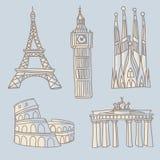 Podróż punktów zwrotnych doodle Zdjęcie Stock
