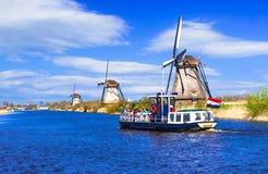 Podróż w holandiach tradycyjny Holandia - wiatraczki w Kinde Obrazy Royalty Free