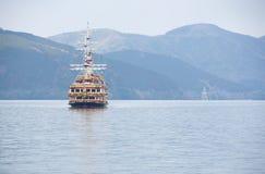 Podróż w Japonia przy Ashinoko jeziorem w Kanagawa, Japonia Zdjęcie Stock