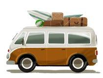 Podróż wakacje w retro samochodzie dostawczym Obrazy Royalty Free