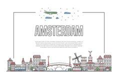 Podróży Amsterdam plakat w liniowym stylu Zdjęcie Stock
