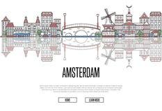 Podróży Amsterdam plakat w liniowym stylu Zdjęcia Stock