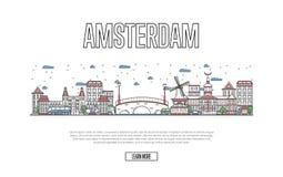 Podróży Amsterdam plakat w liniowym stylu Obrazy Royalty Free