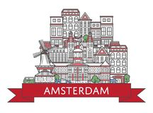Podróży Amsterdam plakat w liniowym stylu Zdjęcia Royalty Free