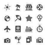 Podróży i wakacje ikona ustawia 7, wektor eps10 Zdjęcia Stock